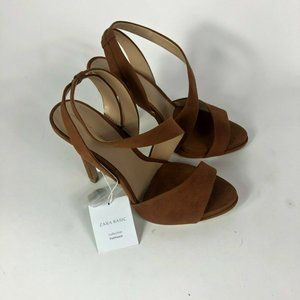 Zara Suede Brown Summer Ankle Strap Sandal  37